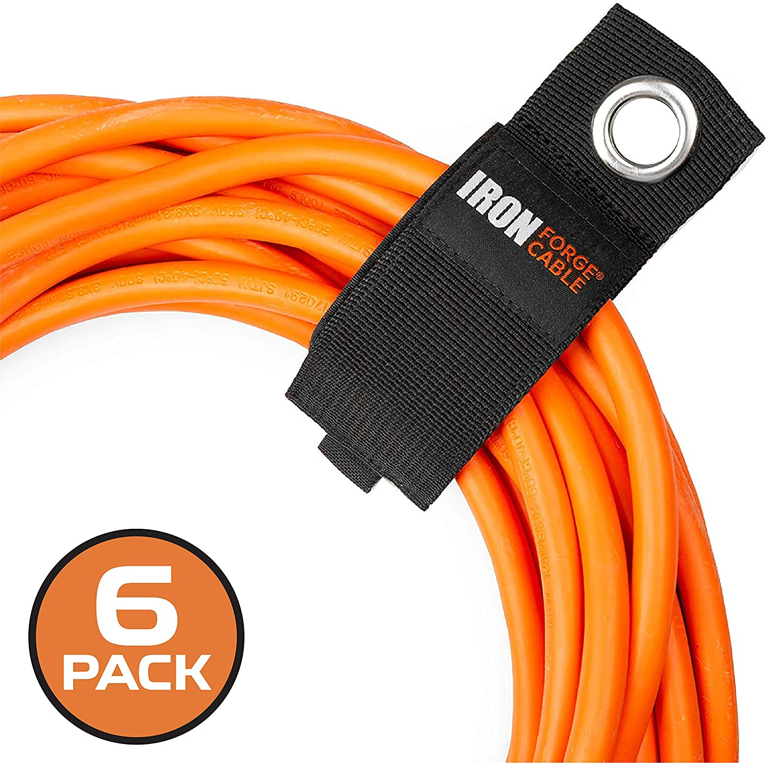 Extension Cord Wrap Organizer, 6 Pack of Storage Straps - Large 13.25 Inch Hook and Loop Hanger Wraps for Power Cables, Hoses, Ropes, and More