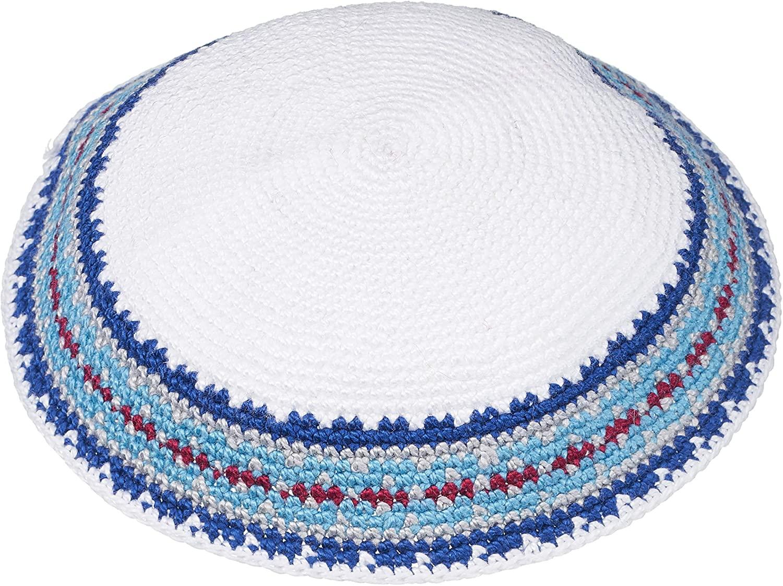 A&S Mezuzot Modern Kippah for Men Yarmulke Cap Jewish Yamaka Hat Kippot Yarmulka (Blue/White, Knitted)