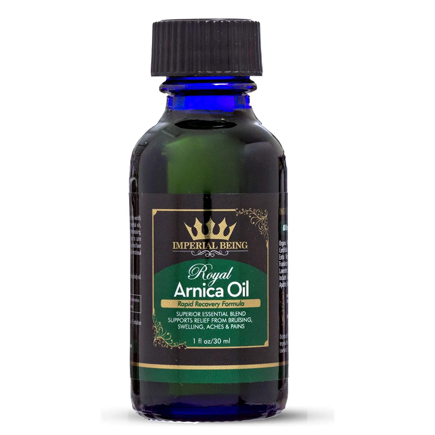 ROYAL ARNICA OIL - Rapid Recovery Formula - Organic Super Premium Herbal Blend with Essential Oils for Natural Pain Relief, Sore Muscles, Bruise Care, Massage Therapy, Trauma, Aches (1oz)