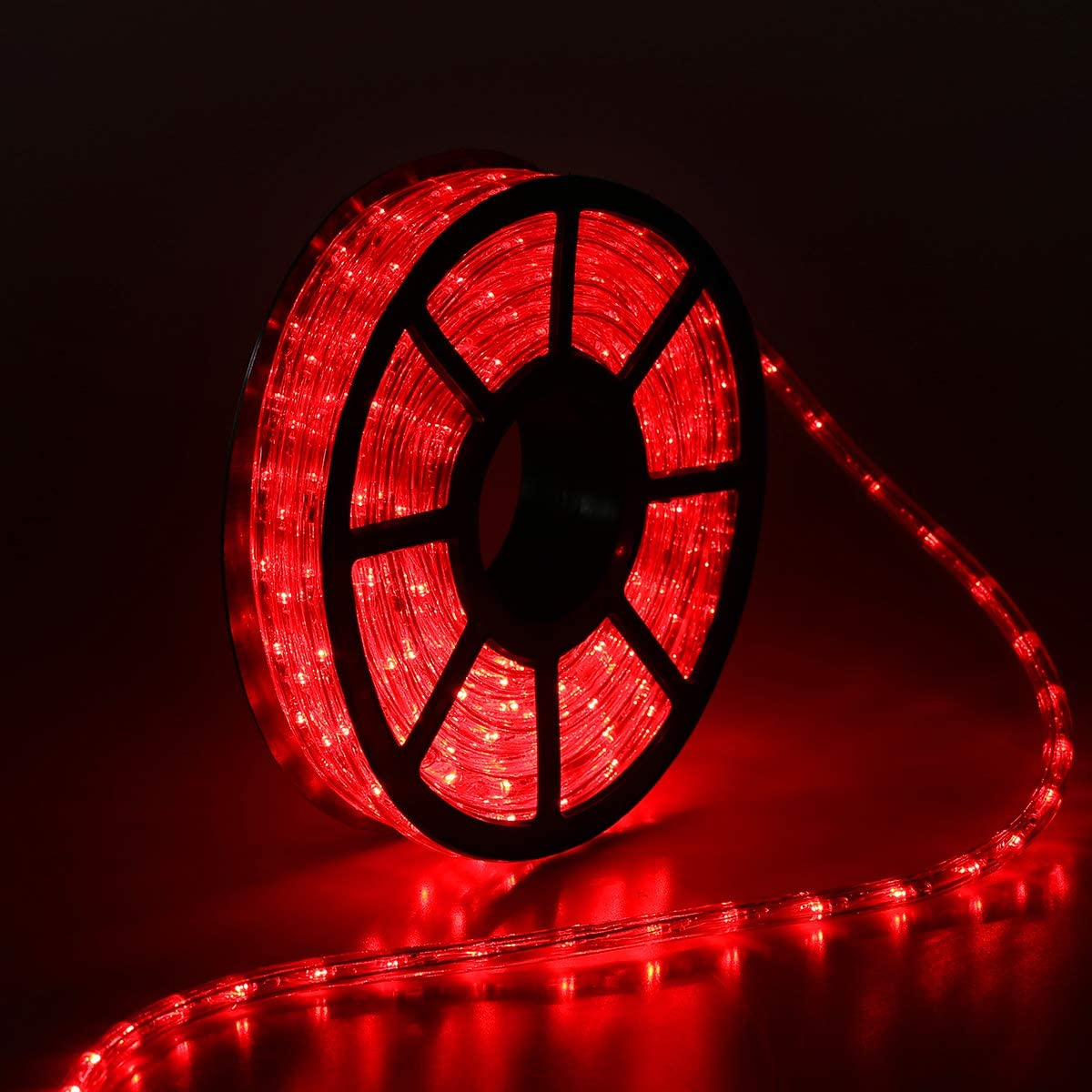 Buyagn 50Ft LED Rope Lights, LED Strip Lights Outdoor Waterproof Decorative Lighting for Eaves Decorations,Backyards Garden and Party Decoration (Red)