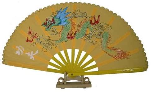 13 Dragon Design Kong Fu Fan (Yellow)