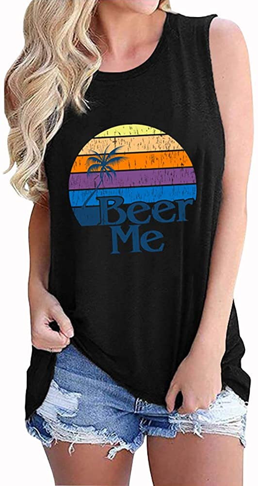 MZEAZRK Women Sunshine Tank Tops Loose Fit Sleeveless Colorful Print Graphic Casual Vest T Shirt Tees