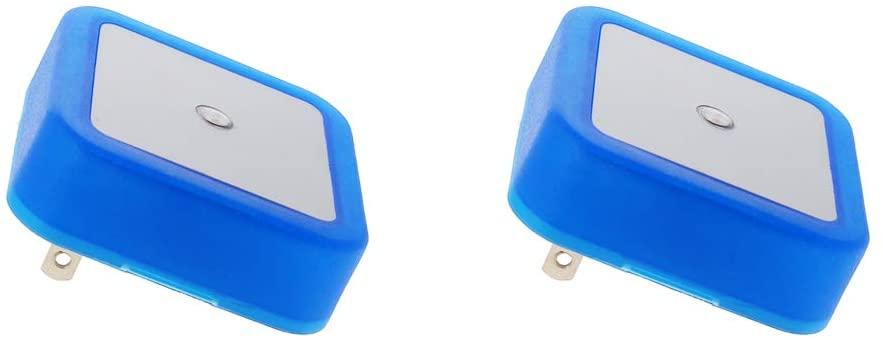 Othmro Plug-in Night Light LED Bed Lights with Auto Dusk-to-Dawn Sensor for Bedroom Kitchen Hallway Blue US Plug 2Pcs