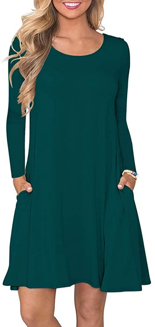 WNEEDU Women's Long Sleeve T-Shirt Dress Round Neck Casual Loose Dress