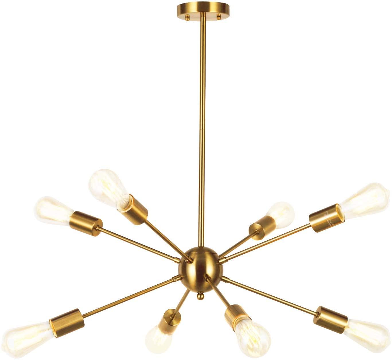 VINLUZ Sputnik Chandelier Contemporary 8 Lights Brushed Brass Modern Pendant lighting Gold Mid Century Ceiling Light Fixture for Dining Room Bed Room Kitchen Room UL Listed
