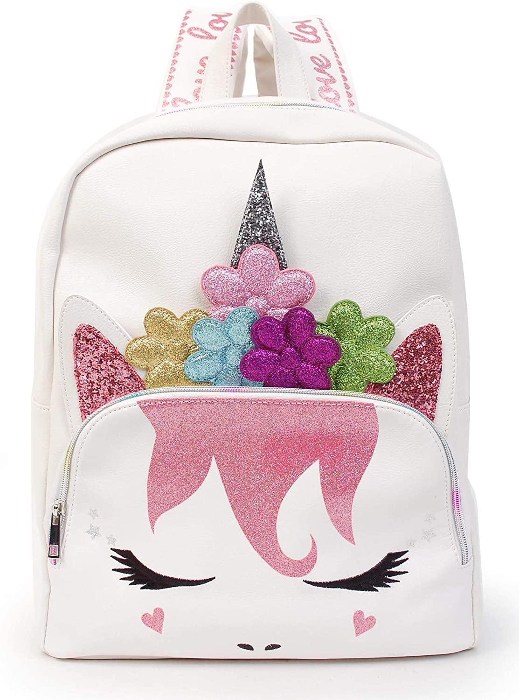 Large Unicorn Backpack Purse Daypack Bag for Women (Large Backpack - White Flower Crown Unicorn)