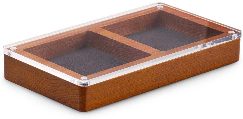 Oirlv Wood 2 Grid Jewelry Display Tray Premium Microfiber Interior Jewelry Organizer Box with Top Lid Ring Earrings Bracelet Storage Dish(Grey)
