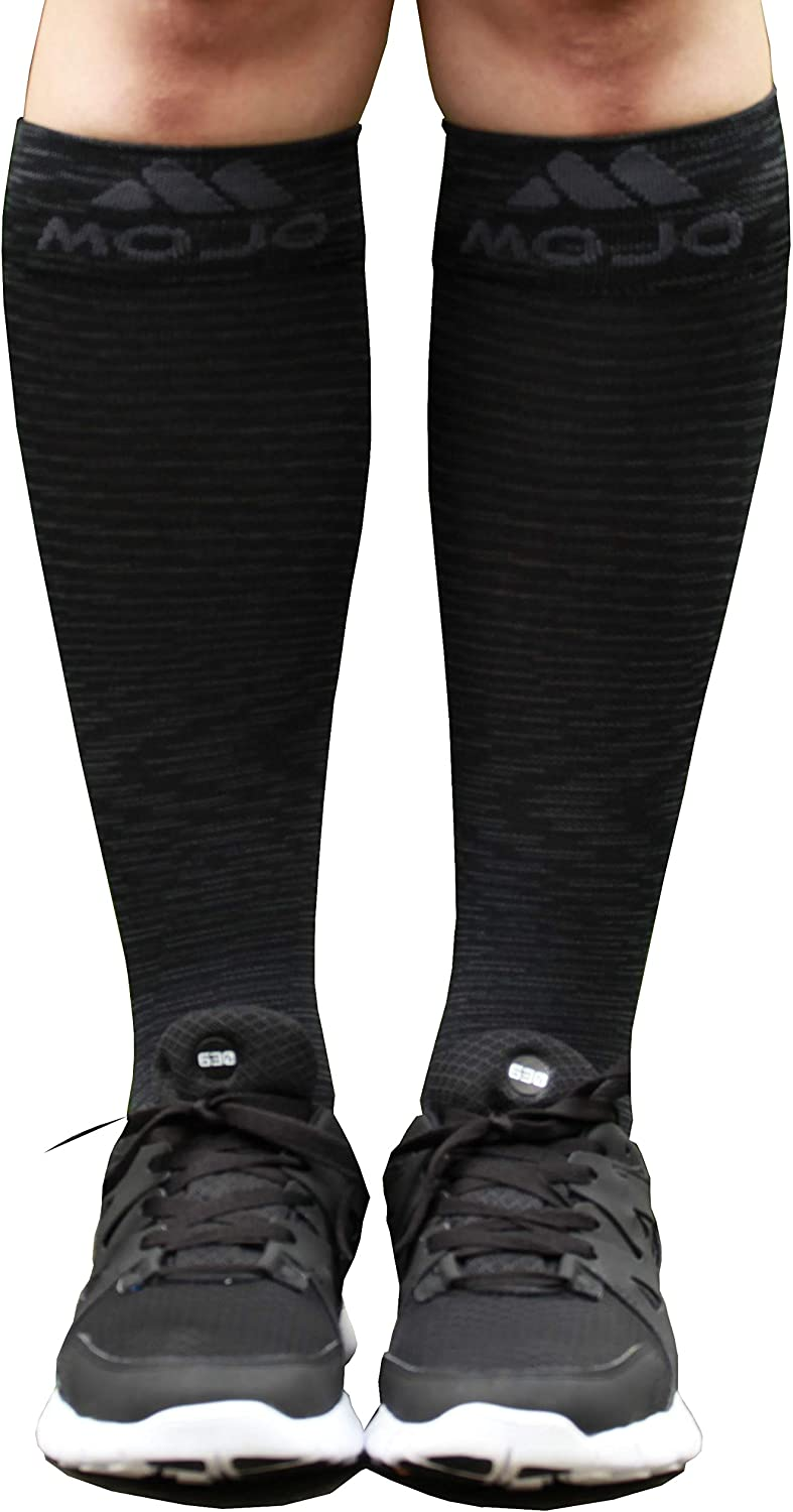 Mojo Sports Compression Socks for Recovery with Elite Design | Black Small