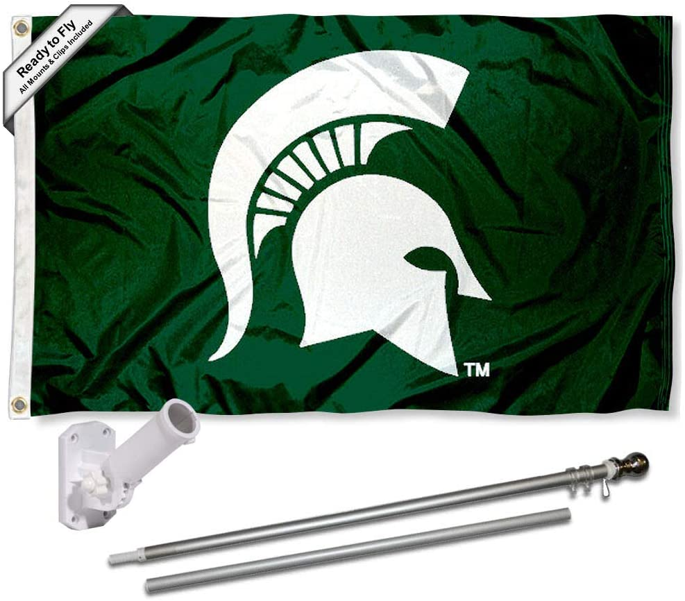 College Flags & Banners Co. Michigan State Spartans Spartan Head Flag with Pole and Bracket Complete Set