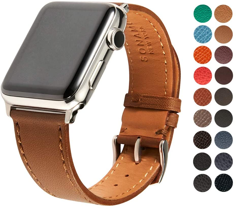 SONAMU New York Compatible with Apple Watch Band 42mm, Premium French Barenia Leather Strap with Stainless Steel Buckle, Brown