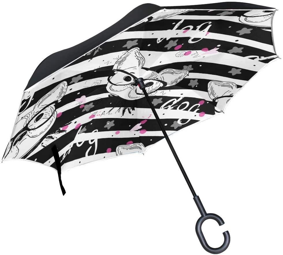 senya Inverted Umbrellas Pug Dog Pattern Double Layer Folding Umbrella Windproof Anti-UV Windproof Travel Umbrella for Women and Men