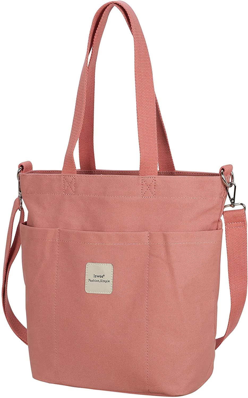Iswee Canvas Tote Bag Women Shoulder Bag Casual Top Handle Bag Cross-body Handbags