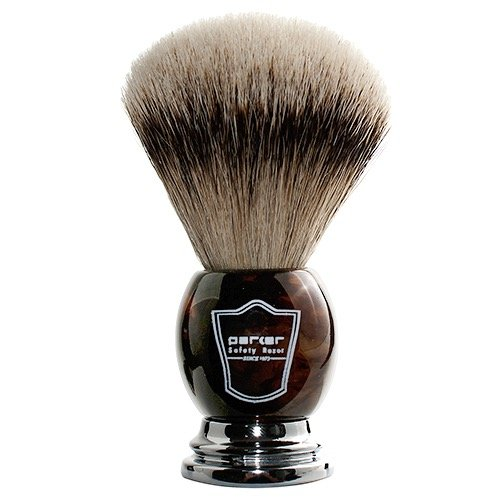 Parker Safety Razor - Faux Horn Handle, 100% Silvertip Badger Men's Shaving Brush & Stand