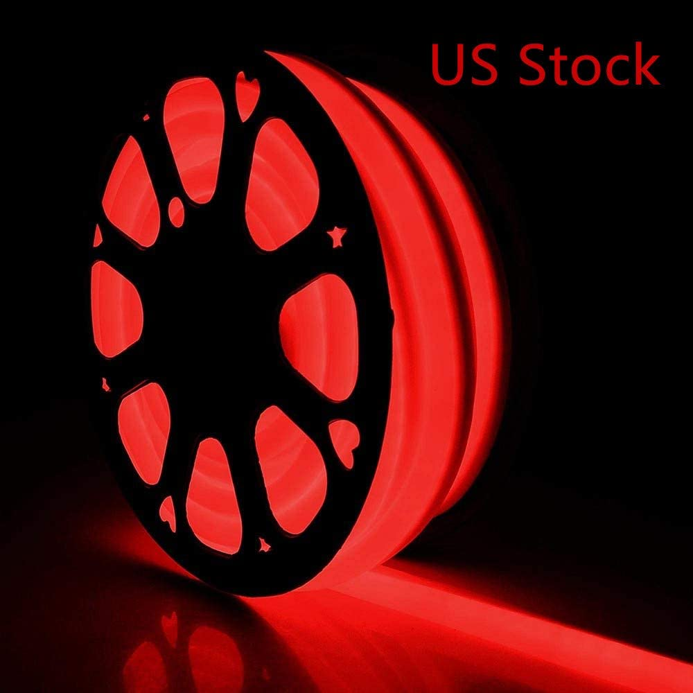 US Stock LED Rope Lights, Flat Flexible LED Light Strip Kit Waterproof Light 110V Indoor/Outdoor Use, Inter-Connectable Decorative Lighting for Kitchen Backyards Garden Patio Party Event (100FT, Red)