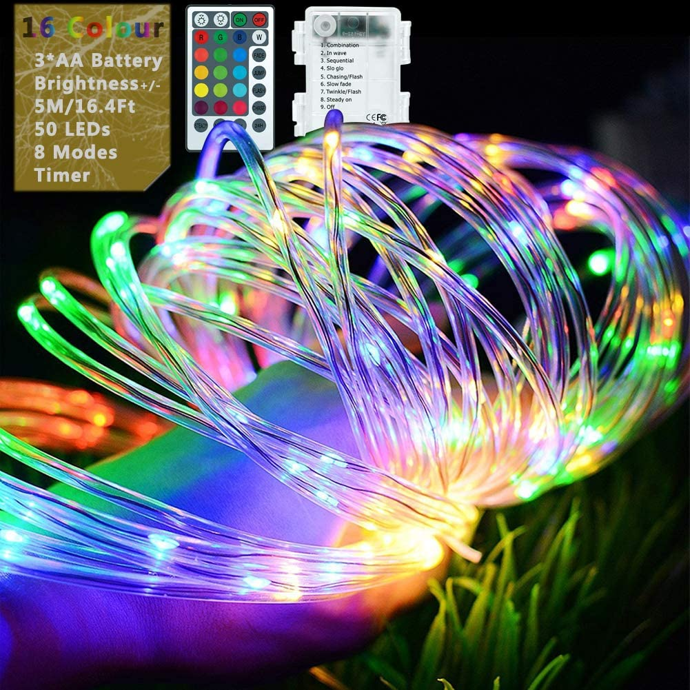 Fairy Rope Lights, 5M/50LEDs Dimmable String Light Battery Powered with Remote Timer [IP68+] Waterproof 8 Modes & 16 Colour Changing for Outdoor Garden Christmas Decoration