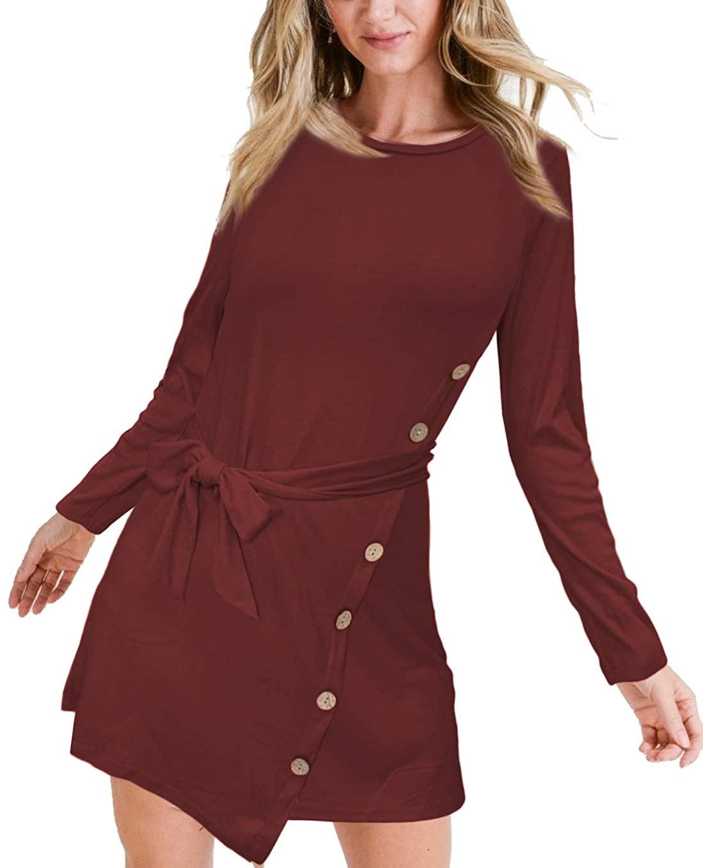 Albe Rita Summer Women Short Sleeve Scoop Neck Button Side Sweater Tunic Dress