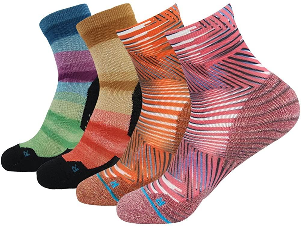 HUSO Unisex Striped Print Athletic Quarter/Ankle Running Hiking Socks 3, 4 Pairs