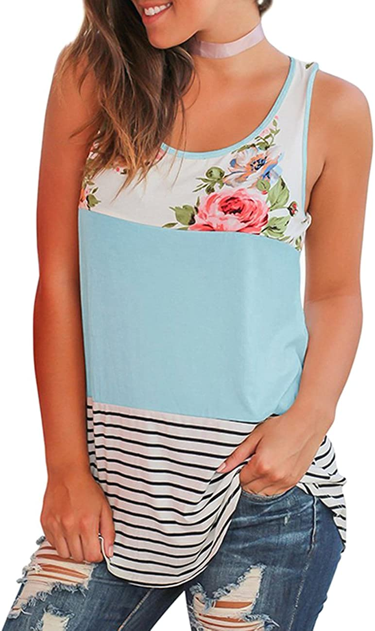 Defal Womens Summer Sleeveless Floral Print Color Block Striped Tank Tops Casual Loose Juniors Tunic T-Shirt Blouse