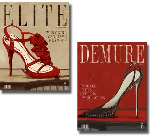 Artistic Home Gallery Demure & Elite Red Fashion Magazines by Hakimpour-Ritter 2-pc Stretched Canvas Set (Ready-to-Hang)