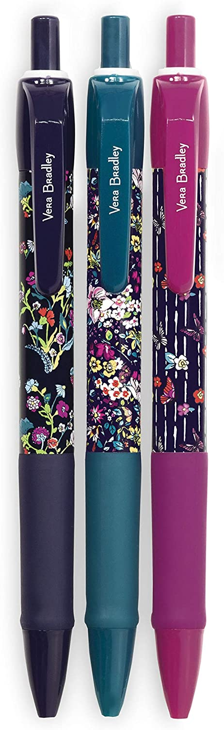 Vera Bradley Black Ink Click Pen Set of 3 with Storage Pouch, Itsy Ditsy Medley