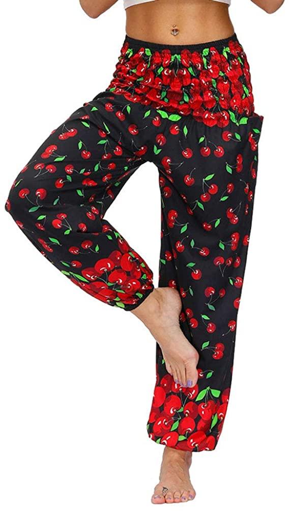 DQCUTE Women Boho Hippie Harem Yoga Pants Summer Beach Smocked Waist Casual Palazzo Trousers with Pockets