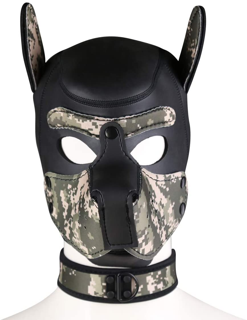 FeiGu Unisex Costume Dog Head Mask with Collar, Neoprene Full Face Puppy Hood Cosplay Mask Choker Set