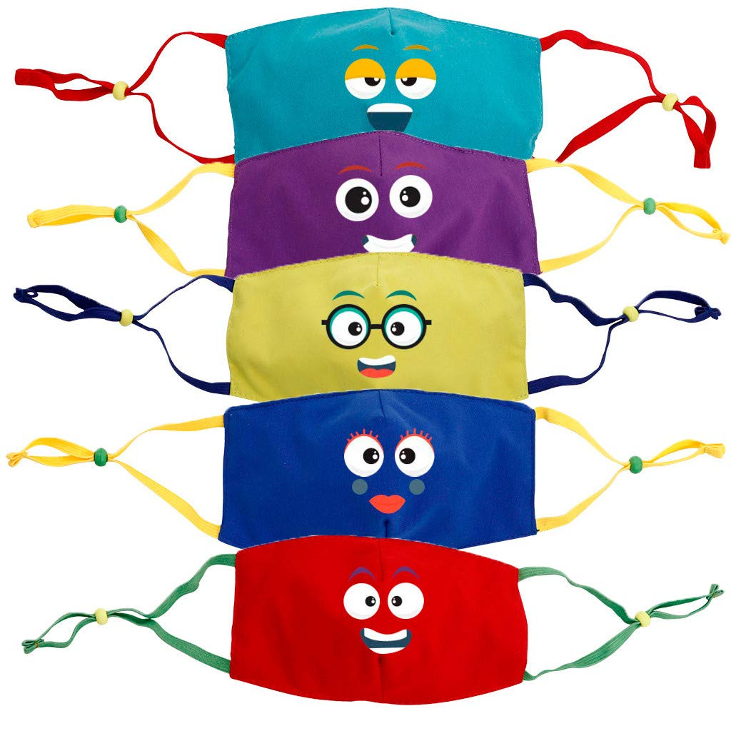 Walsent Kids Face Bandanas [ Mon. to Fri. ] - 5/7 PCS Reusable Cloth Face Bandanas Set, Cotton, Back to School Supplies