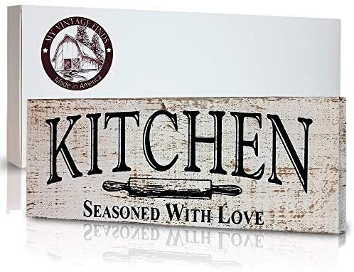 myVintageFinds Kitchen Sign - Rustic Kitchen Decor, Farmhouse Wall Decor, Made In America, Kitchen Sign Wall Decor And Decorations