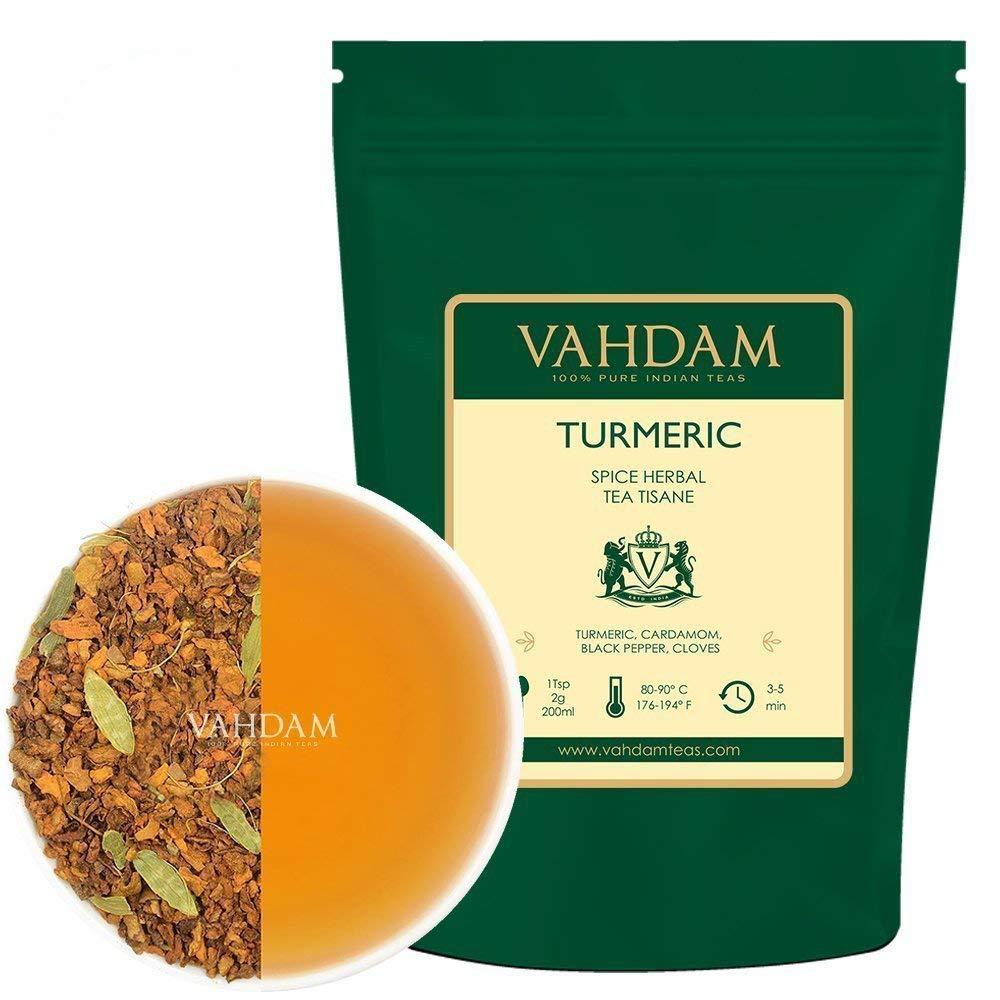 VAHDAM, Turmeric Spiced Herbal Tea Tisane (100 Cups)   India's Ancient Medicine Blend of Turmeric & Garden Fresh Spices   ABUNDANT IN ANTI-OXIDANTS   IMMUNE SUPPORT   Turmeric Tea, Packed in India   7oz