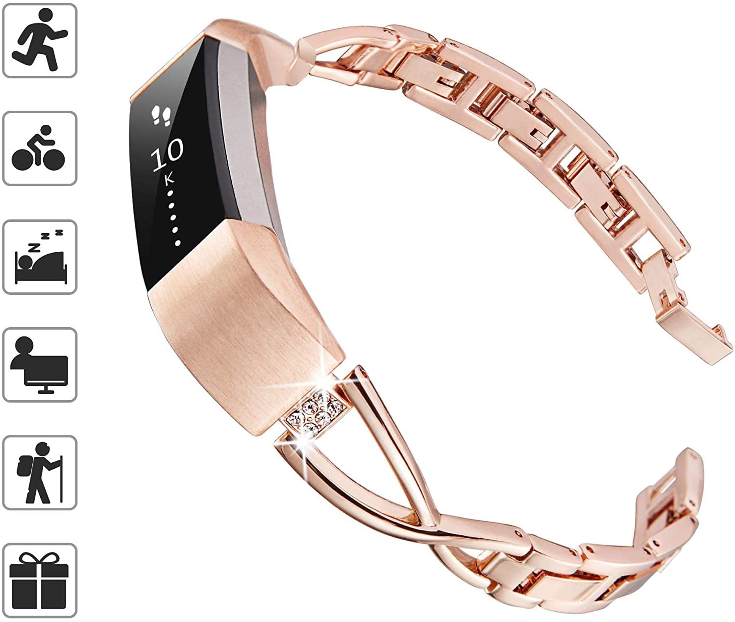 TOMALL Metal Bands Compatible for Fitbit Alta and Alta HR,Stainless Steel Metal Replacement Wristband for Women Men (Rose Gold, Small)