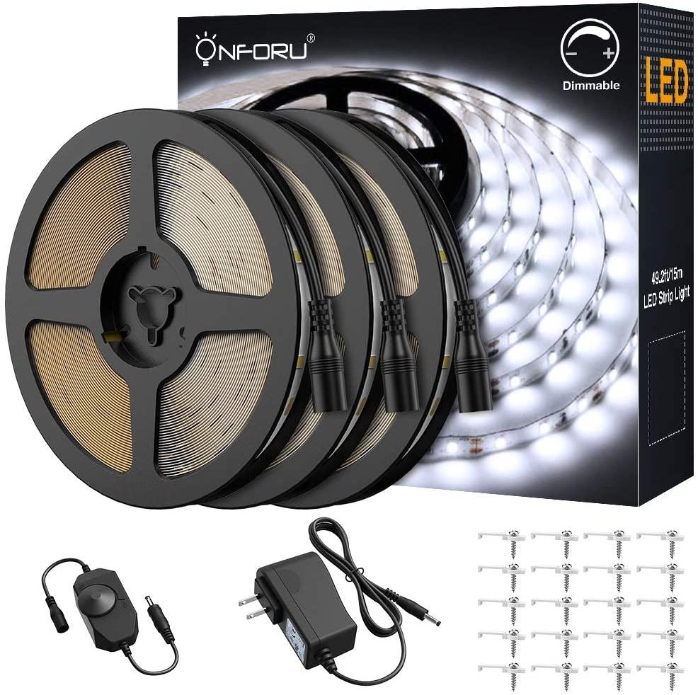 Onforu 50ft LED Strip Light, 6000K Daylight White Dimmable Tape Light, 15m 12v Flexible Ribbon Light, 2835 LEDs Rope Lighting for Home, Kitchen, Under Cabinet, Bedroom, Non-Waterproof