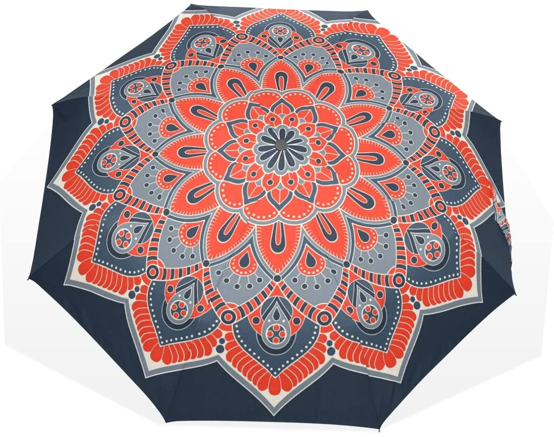 HMWR Women Umbrella Windproof Compact Japen Ethnic Flower Pattern Folding Travel Rain Umbrella