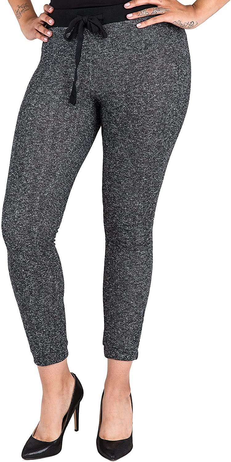 Poetic Justice Curvy Women's Black Marled Yarn French Terry Jogger Pants