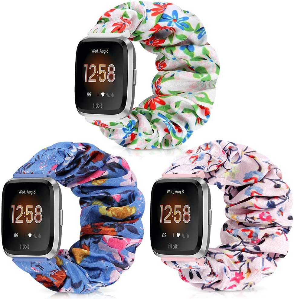 AordKing Scrunchie Watch Band with Versa/Versa 2 / Versa Lite, 23mm Compatible Cute Elastic Wristbands Strap Replacement for Women Girls(L Size, 3 Pack 3)