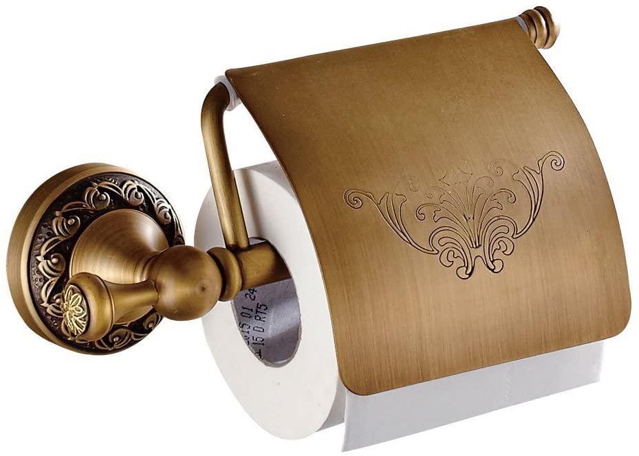 AUSWIND Antique Bronze Brushed Brass Toilet Paper Holder Carved Tissue Holder Bathroom Accessories with Screws HW