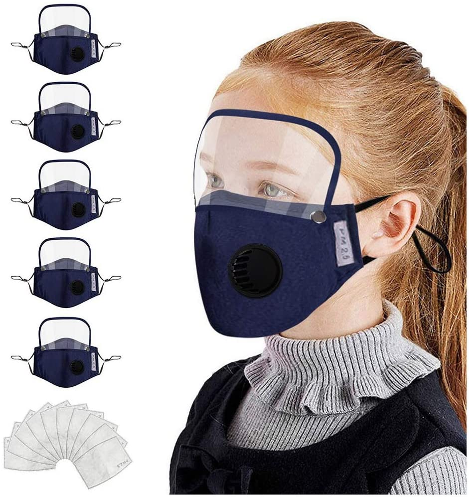 【US in Stock】 Kids Cotton Face Màsc with Replaceable Filters and Detachable Eye Shield Reusable Washable Face Coverings