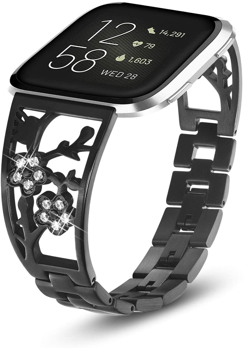 Yoloive Stainless Steel Bands Compatible with Fitbit Versa 2/ Versa Lite/Versa for Women, Bling Luxurious Replacement Bracelet with Rhinestone Metal Smart Fitness Accessories (Black)