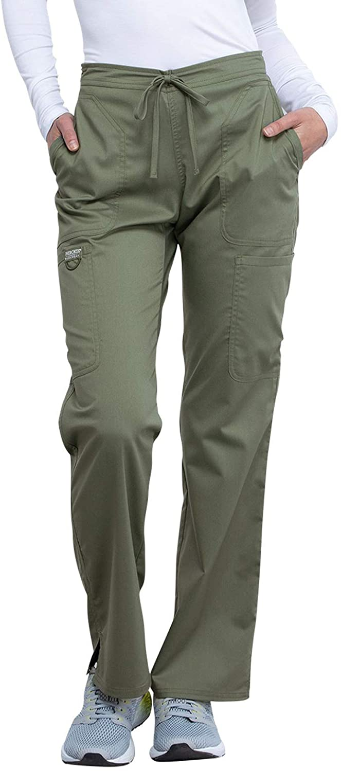 Cherokee Workwear WW Revolution Mid Rise Moderate Flare Drawstring Pant, WW120, S, Olive