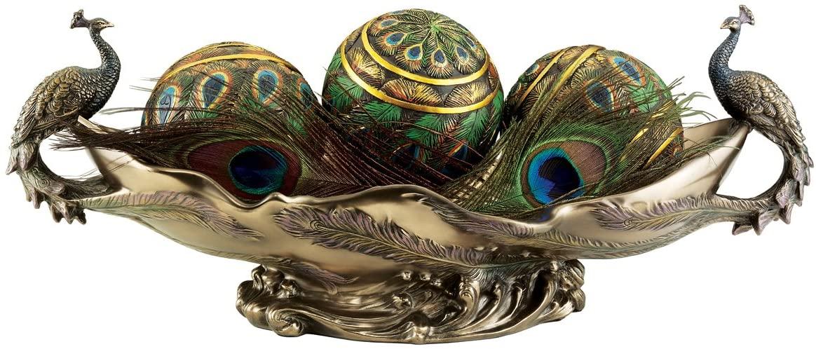 Design Toscano WU10476 Peacocks Decorative Centerpiece Sculptural Bowl, 17 Inch, Polyresin, Bronze Finish