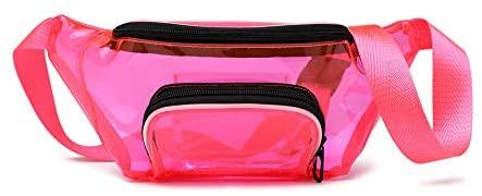 (0.8mm PVC) Fanny Pack, Clear Fanny Pack Weatherproof Cute Waist Bag Stadium Approved Clear Purse Transparent Adjustable Belt Bag for Women Men, Travel, Beach, Events,Concerts Bag (Pink)