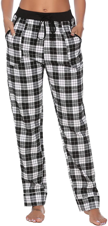 iClosam Women's Pajama Bottoms 100% Cotton Sleepwear Check PJS Lounge Pants Trousers(S-XXL)