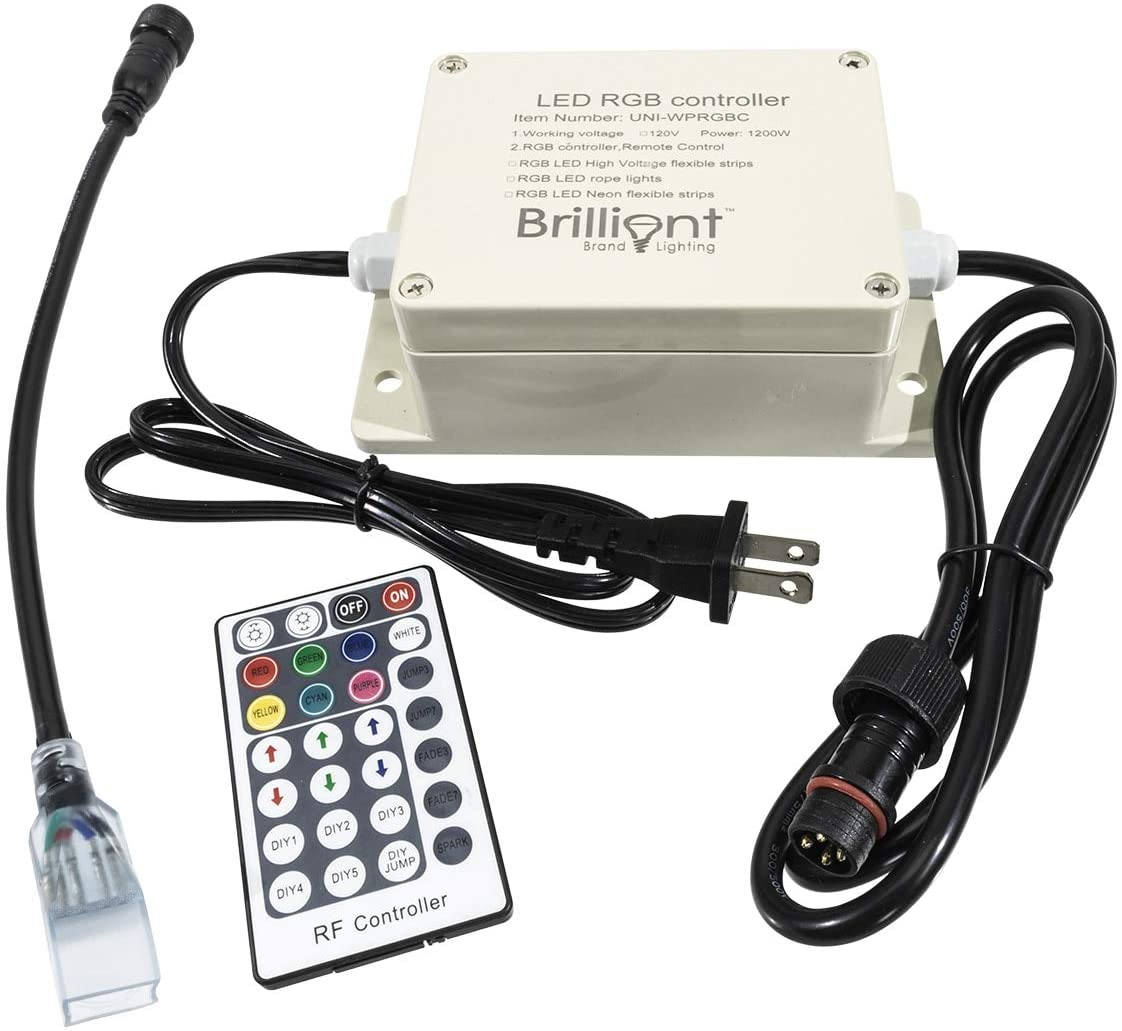 Brilliant Brand Lighting Outdoor Multi-Function RGB LED Color Changing Strip Light Controller - SMD-5050-120 Volt - RF Remote