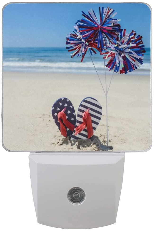 Naanle Set of 2 Patriotic American Flag Flip Flop and Decoration On Sand Beach Ocean Auto Sensor LED Dusk to Dawn Night Light Plug in Indoor for Adults