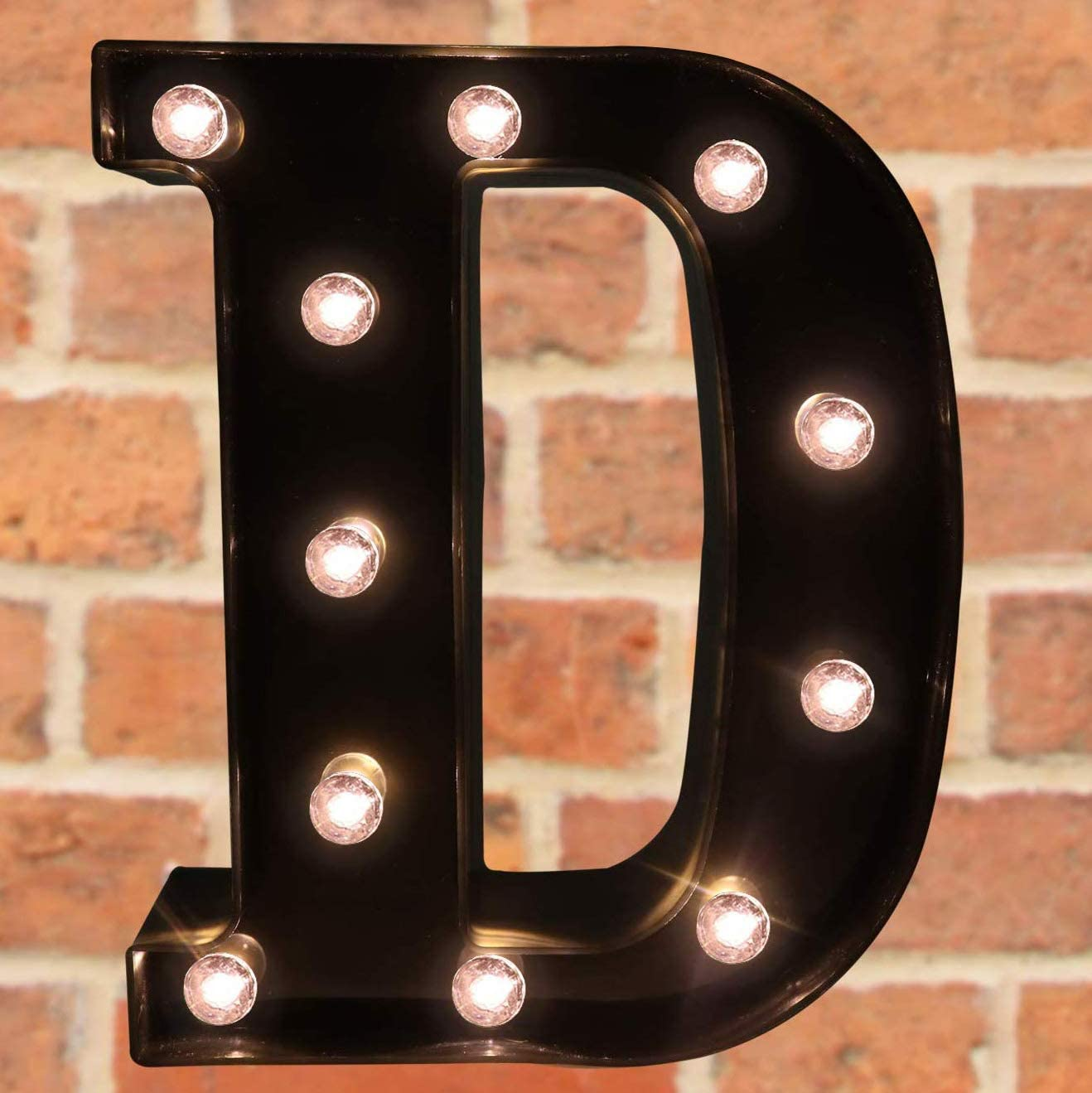 Decorative LED Illuminated Letter Marquee Sign - Alphabet Marquee Letters with Lights for Wedding Birthday Party Christmas Night Light Lamp Home Bar Decoration D, Black