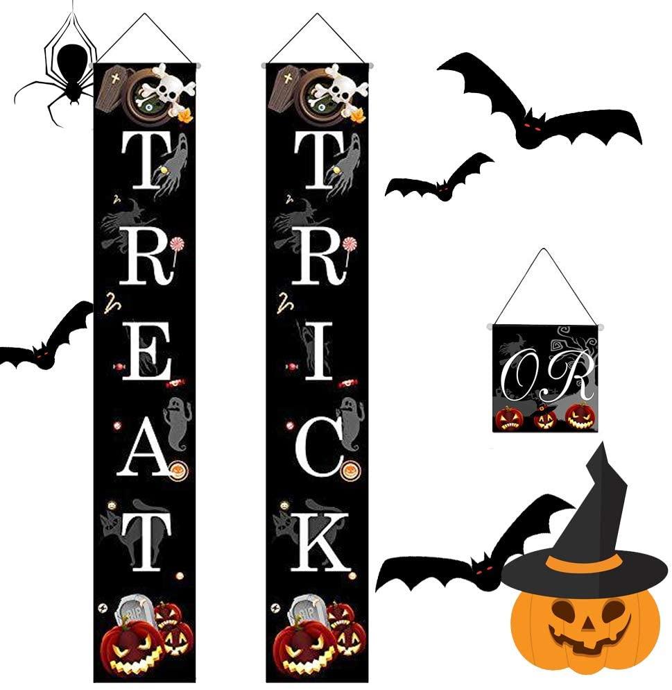Halloween Trick or Treat Banner Outdoor Hanging Decoration Prop Pumpkin Ghost Waterproof for Home Office Porch Front Door Courtyard Tree Party Decor