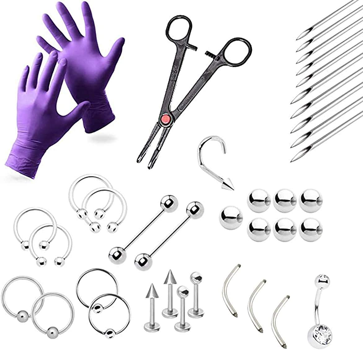 38-Piece Professional Piercing Kit - Lip, Nipple, Replacement Shaft Belly, Eyebrow, Tongue, Ear Piercing Jewelry - Needles, Gloves and Tools Included
