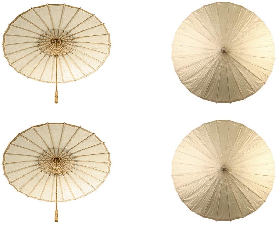 Koyal Wholesale 32-Inch Paper Parasol, 4-Pack Umbrella for Wedding, Bridesmaids, Party Favors, Summer Sun Shade (4, Gold)