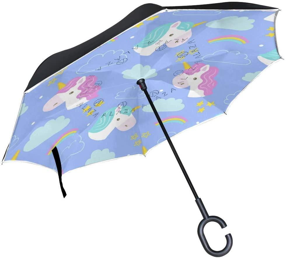 SUABO Double Layer Inverted Umbrellas Reverse Folding Umbrella Unicorn and Rainbow Windproof Umbrella for Car Rain Outdoor with C-Shaped Handle
