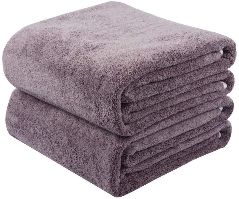KinHwa Microfiber Bath Towels Large Bathroom Towel Super Absorbent Shower Towel Extra Soft Towels for Bathroom, Sports, Travel, Fitness, Yoga, Spa, Pool, Purple 2 Pack 30Inch x 60Inch