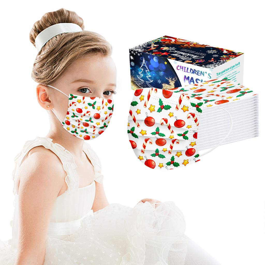 Disposable Kids Christmas Face Reusable Bandana_Mask_Covering, 50PC 3 Layers Ear Loop Breathable Face Madks for Little Boys Girls 3-13 Years (Christmas Balls)
